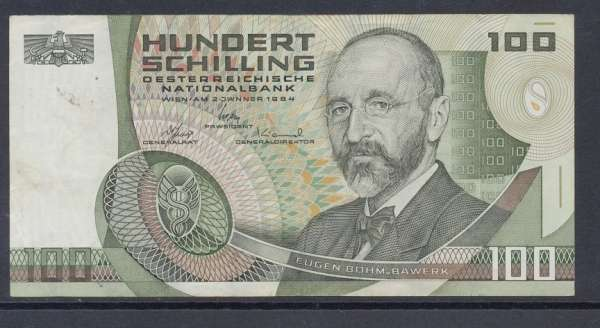 100 Schilling 2.1.1984 Eugen Böhm v. Bawerk Ank. 287a gebraucht Nr.Z502621S Pick 150