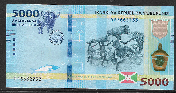 Burundi- 5000 Francs 2018 UNC - Pick New