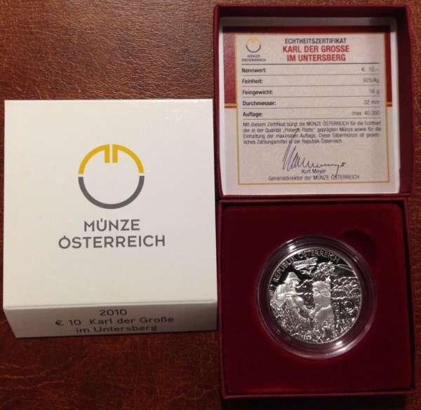 10 Euro Silber 2010 Karl der Grosse im Untersberg PP ANK Nr. 18