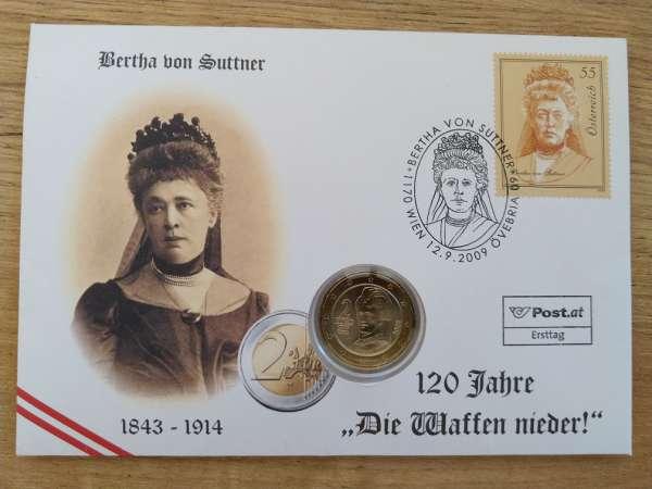 NBE 20 Bertha von Suttner 2009 mit 1 Euro Münze Numisbrief