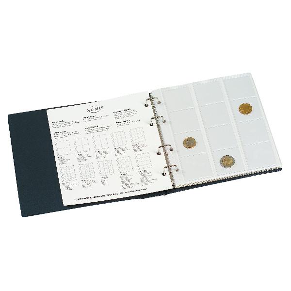 Münzenalbum NUMIS, mit 5 Hüllen, blau