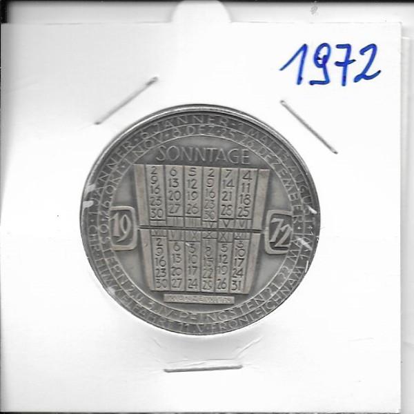 1972 Kalendermedaille Jahresregent Bronze versilbert