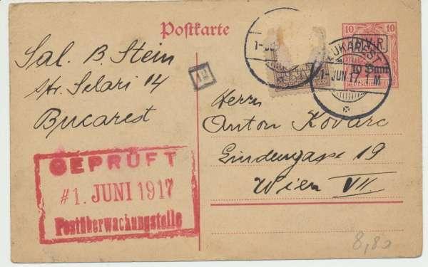 Deutsches Reich Postüberwachungstelle 1917 Bukarest-Wien Postkarte