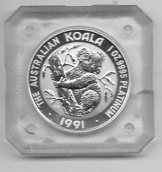 1 unze Platin Australien Koala 1991 100 Dollars