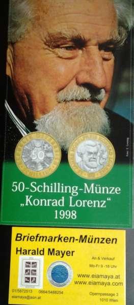 50 Schilling 1998 K.Lorenz Blister HgH Bimetall