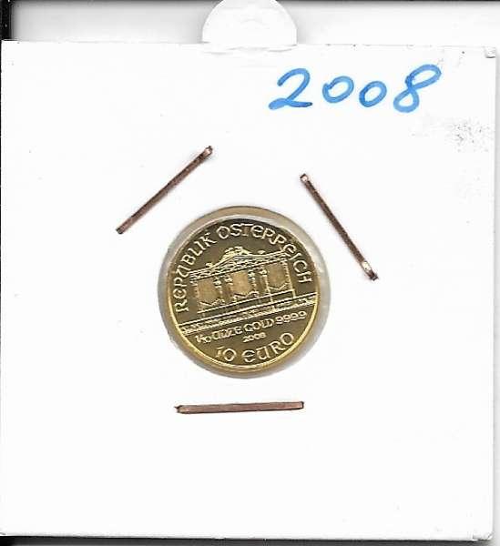 2008 Philharmoniker 1/10 Unze 10 € Euro 3,11 Gramm