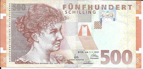 500 Schilling 1.1.1997 Rosa Mayreder Gebraucht Nr. AB280347X Pick 154