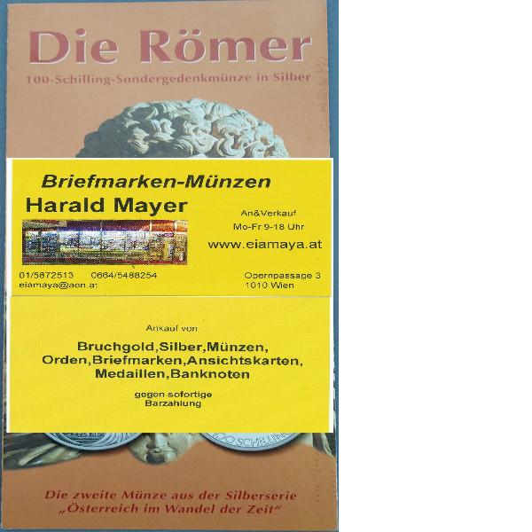 Die Römer 2000 100 Schilling Silber - nur Flyer Folder