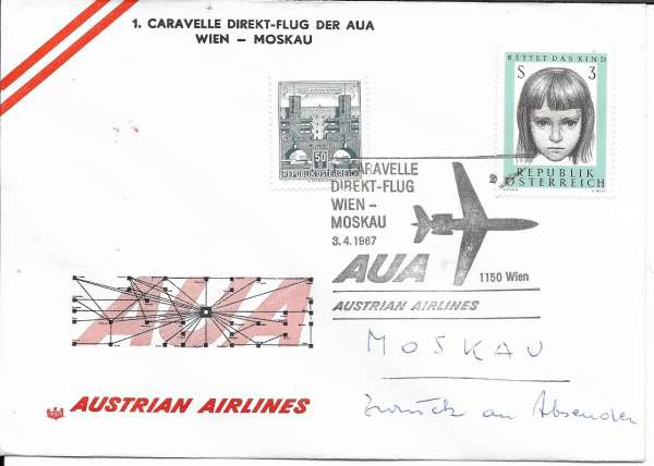 1 Direktflug AUA Wien-Moskau Caravelle 3.4.1967