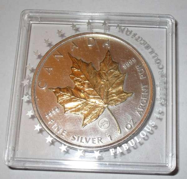 CANADA 1 Unze 5 DOLLAR Canada Dollar 2009 Maple Leaf 24 Karat Teilvergoldet