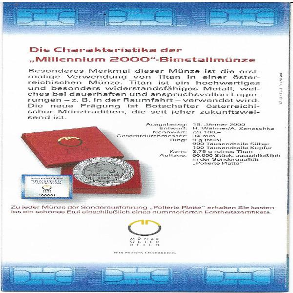 2000 100 Schilling - Millennium 2000 Bimetall nur Flyer Folder
