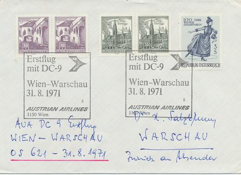 Erstflug Aua DC-9 Wien - Warschau 31.8.1971