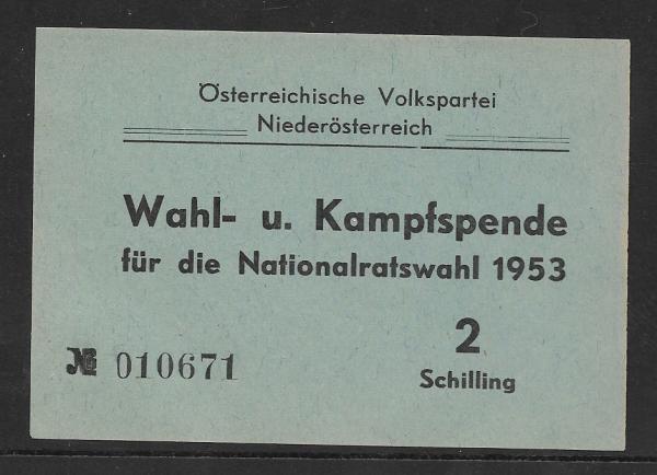 Wahl und Kampfspende Nationalratswahl 1953 2 Schilling ÖVP Niederösterreich