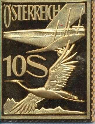 Collection Magna Austria Silber Österreichische Flugpost 10 Schilling 1926 24 Karat Vergoldet