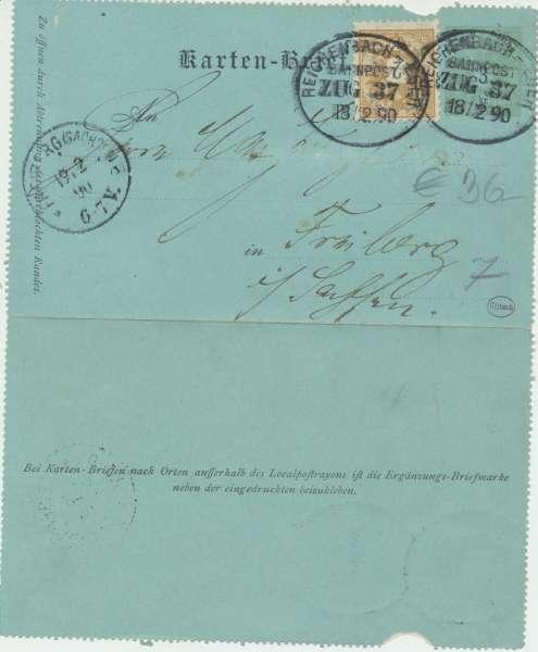 Karten Brief Bahnpost Zug 37 ca.1890