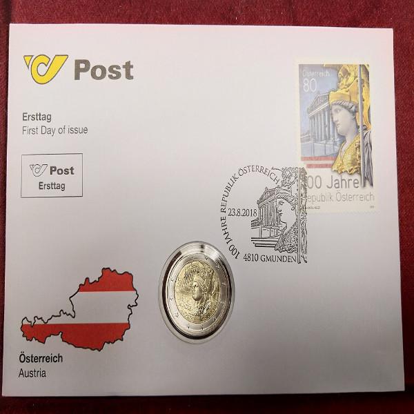 NBE 31a) 100 Jahre Republik Österreich mit 2 Euro Münze