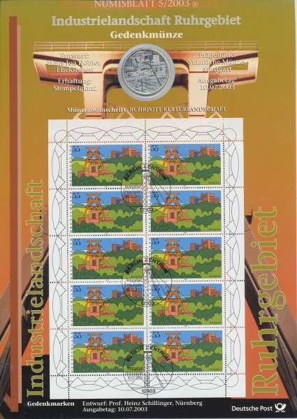 """Numisblatt Deutschland 2003/5 """"Industrielandschaft Ruhrgebiet"""" mit 10€ Silbermünze Gedenkmünze"""