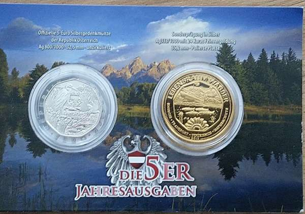 5 Euro 2013 Silber Ag Land des Wassers 5 Euro Silber + Sonderprägung Silber 24 Karat vergoldet