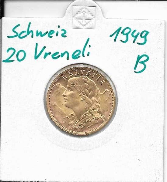 20 Franken 1949 B Vreneli Schweiz Gold