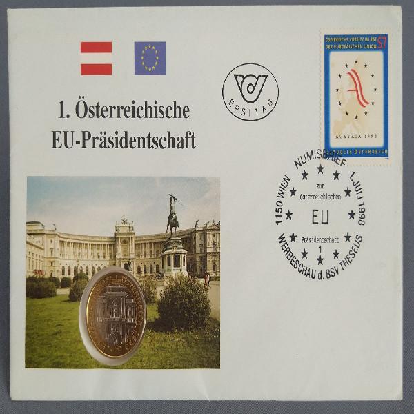 NB 4 Eu Präsidentschaft 1998 mit 50 Schilling Münze Numisbrief