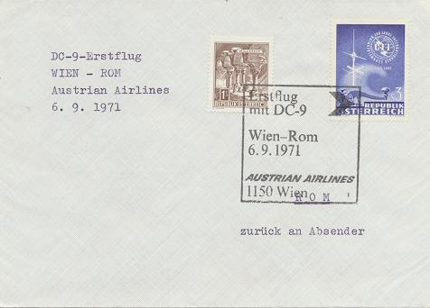 Erstflug Aua DC-9 Wien - Rom 6.9.1971