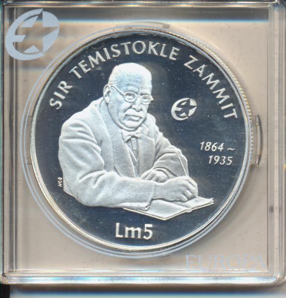 5 Pfund Liri Malta 2006 PP Temistokle Zammit Silber Ag Europa Stern