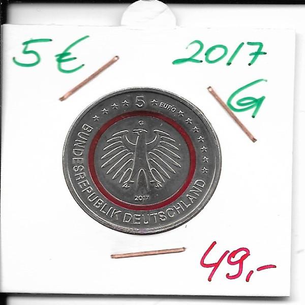 2017 Deutschland 5 Euro Tropische Zone G Karlsruhe