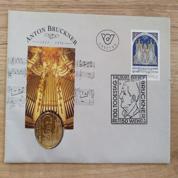 NB 3 100 Todestag Anton Bruckner 1996 mit 20 Schilling Münze Numisbrief