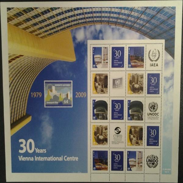 6.Grussmarken Bogen 30 Jahre Uno Wien 2009 postfrisch Version 2