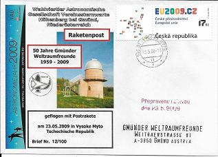 Raketenpost GWF WAG mit Startprotokoll Nr.12/100 Gmünder Weltraumfreunde 1959-2009