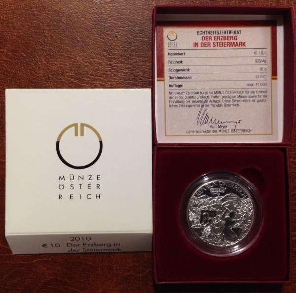 10 Euro Silber 2010 Erzberg in der Steiermark PP ANK Nr. 17