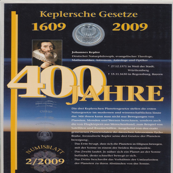"""Numisblatt Deutschland 2/2009 """"400 Jahre Keplersche Gesetze"""" mit10-€-Silbermünze"""