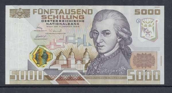 5000 Schilling 4.1.1988 Wolfgang Amadeus Mozart Erh.1 unc, C 261115F Ank.Nr. 290 Pick 153