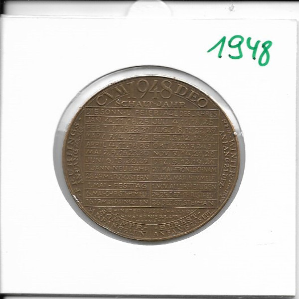 1948 Kalendermedaille Jahresregent Bronze