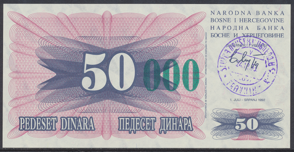 Bosnien Herzogowina- 50 000 Dinara 24.12.1993 unc - Pick Nr.55c Grün