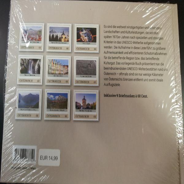 Briefmarkenbuch UNESCO Welterbe rund um Österreich mit 9 exklusive Marken