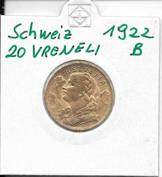 20 Franken 1922 B Vreneli Schweiz Gold