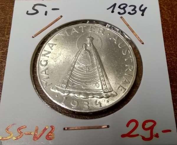 5 Schilling 1934 Silber