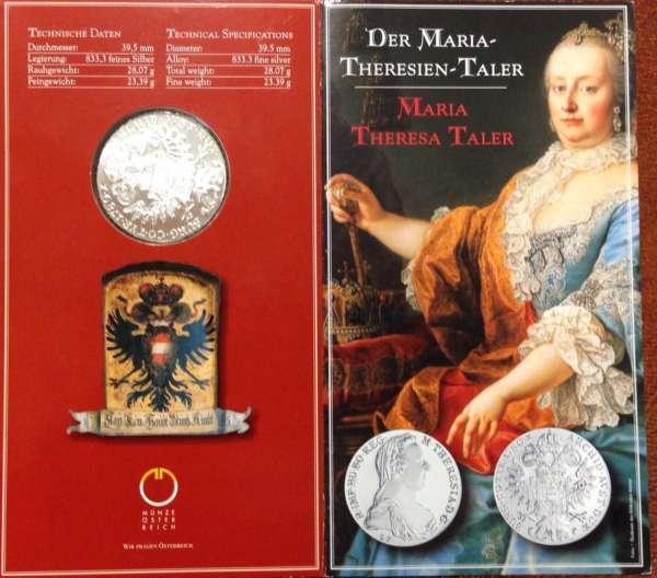 1 Maria Theresia Taler 23,3 gr. Feinsilber im Blister