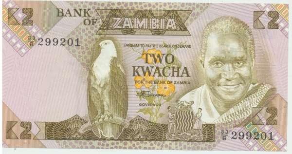 Zambia-Sambia - 2 Kwacha 1980-1988 UNC - Pick Nr.24c