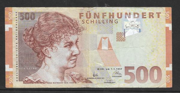 500 Schilling 1.1.1997 Rosa Mayreder Gebraucht Nr. AA 486020 K Pick 154