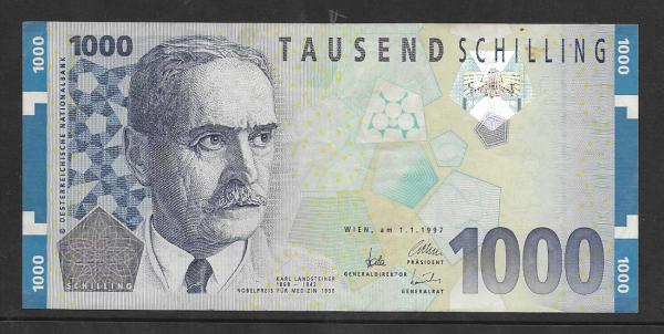 1000 Schilling 1.1.1997 Karl Landsteiner Ank.292 gebraucht NR: AC 186086 U Pick 152