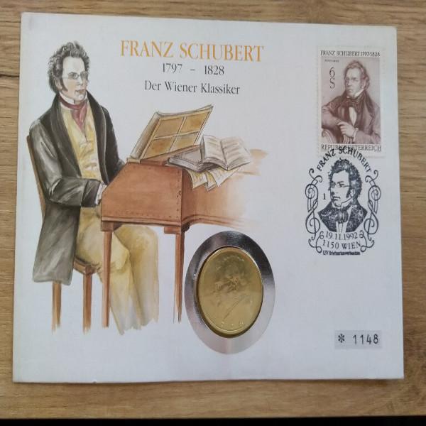 NB Franz Schubert 1992 mit 2 Schilling Münze Numisbrief