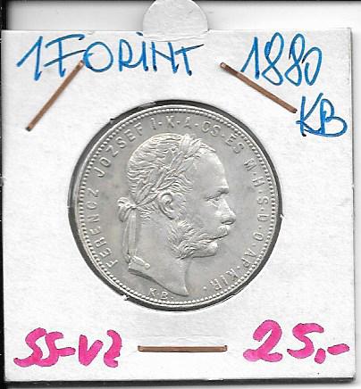 1 Gulden Forint 1880 KB Silber Franz Joseph