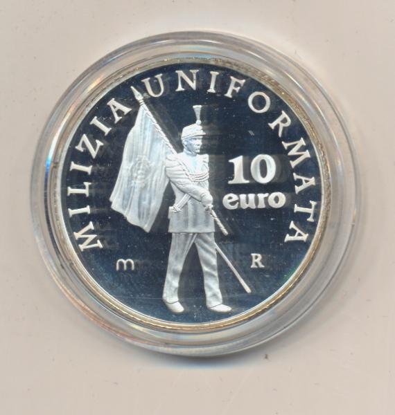10 Euro 2005 San Marino Silber PP Uniformierte Miliz