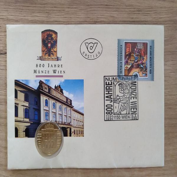 NB 2 800 Jahre Münze Wien1994 mit 20 Schilling Münze Numisbrief