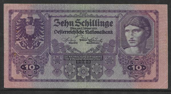 10 Schilling 2 Jänner 1925 Ank.Nr.212 Pick 89 Nr. 1015 035637