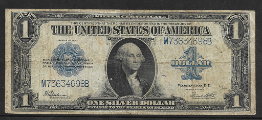 USA 1 Dollar 1923 Banknote Large Size US Silver Certificate Schein M73634698B