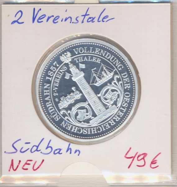2 Vereinstaler 3 Gulden zur Vollendung der Südbahn Kopie Neuprägung Silber