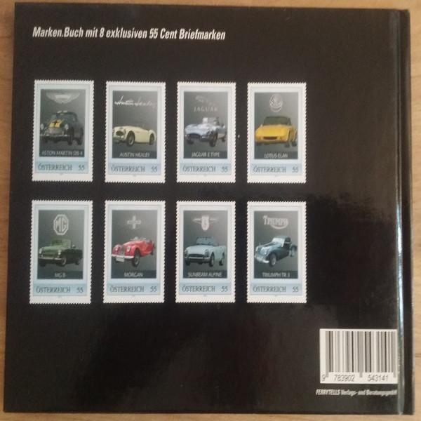 Briefmarkenbuch Britische Sportwagen mit 8 exklusiven Marken
